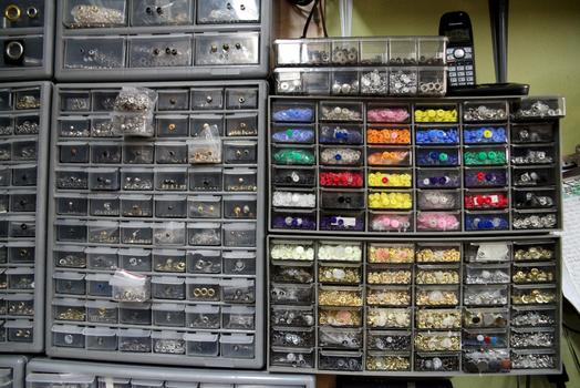 Drawers of snaps.